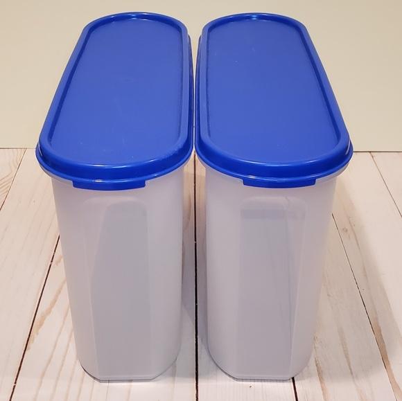 Set Of 2 Oval Tupperware Modular Mates Blue Storag